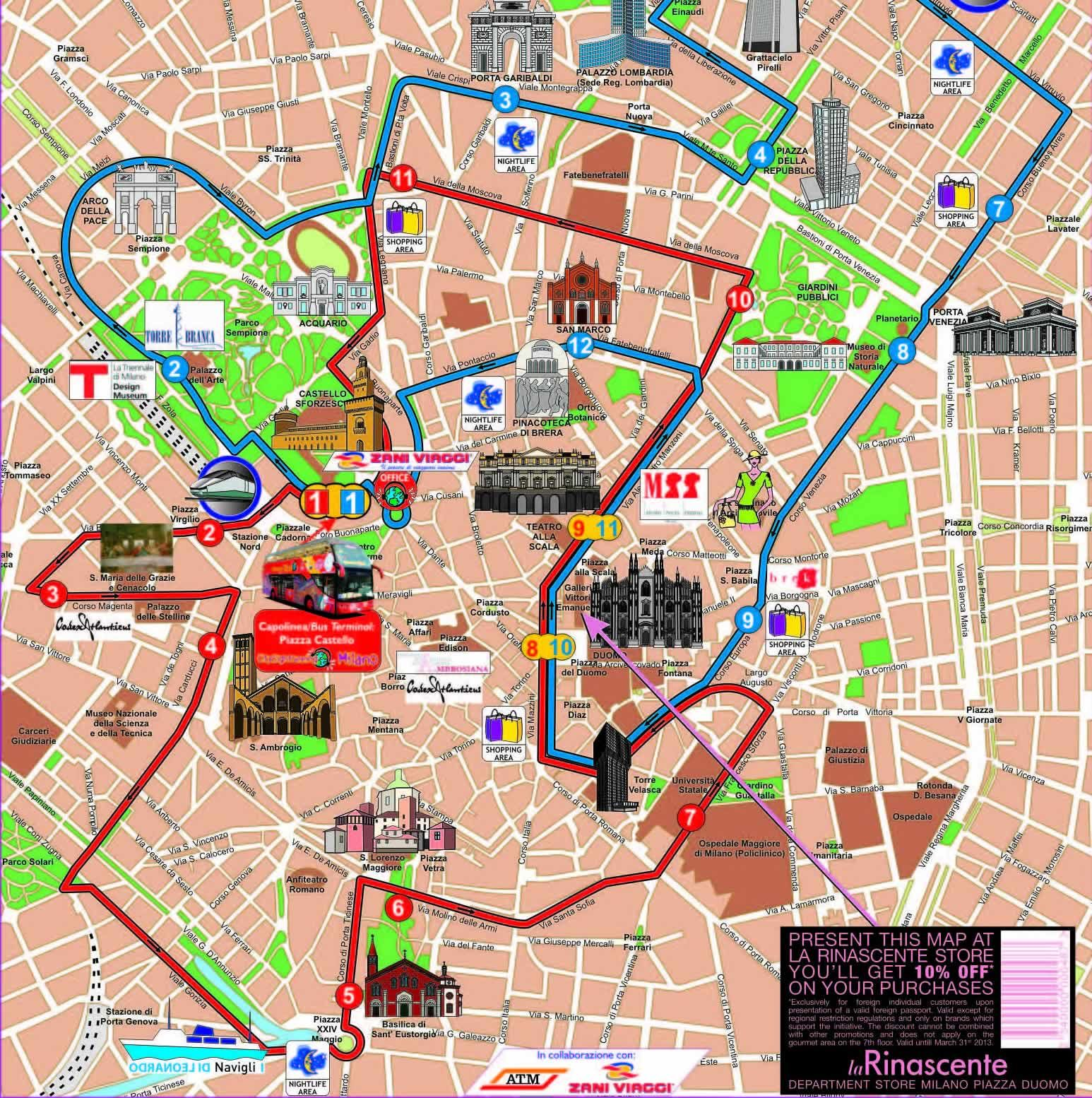 Map of subway lines and the inner parts of commuter rail lines in – Milan Tourist Map