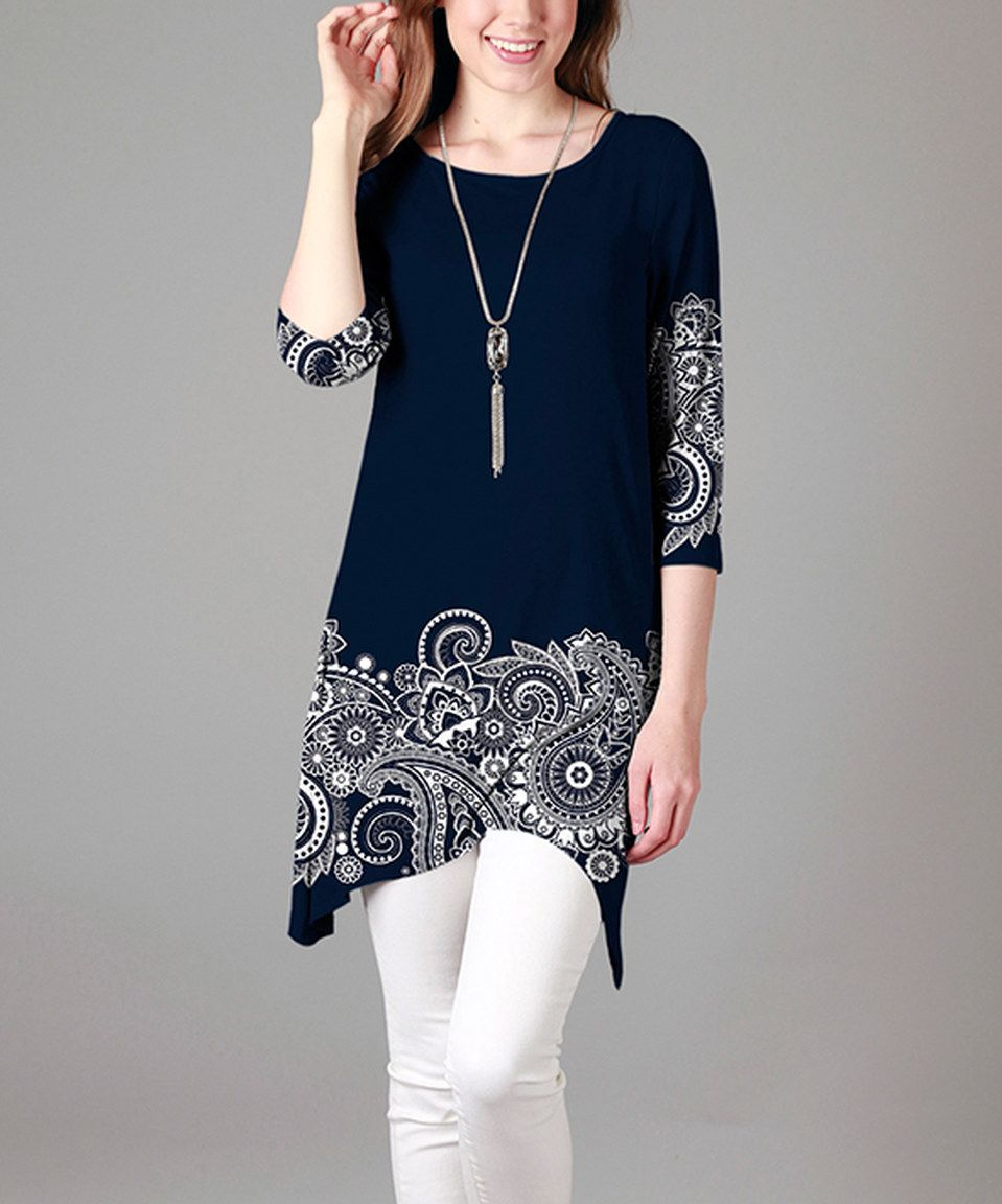 Another great find on #zulily! Blue & White Paisley Sidetail Tunic by Sunflower #zulilyfinds