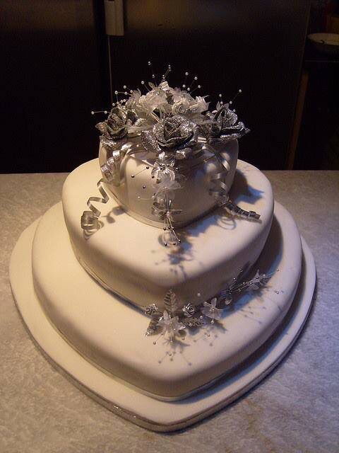 Three tier silver cake