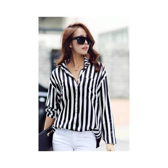 Koszula Damska Paski Hit Bloggerek Bialo Czarne S 3652954540 Oficjalne Archiwum Allegro Striped Shirt Women Striped Blouse Chiffon Long Sleeve