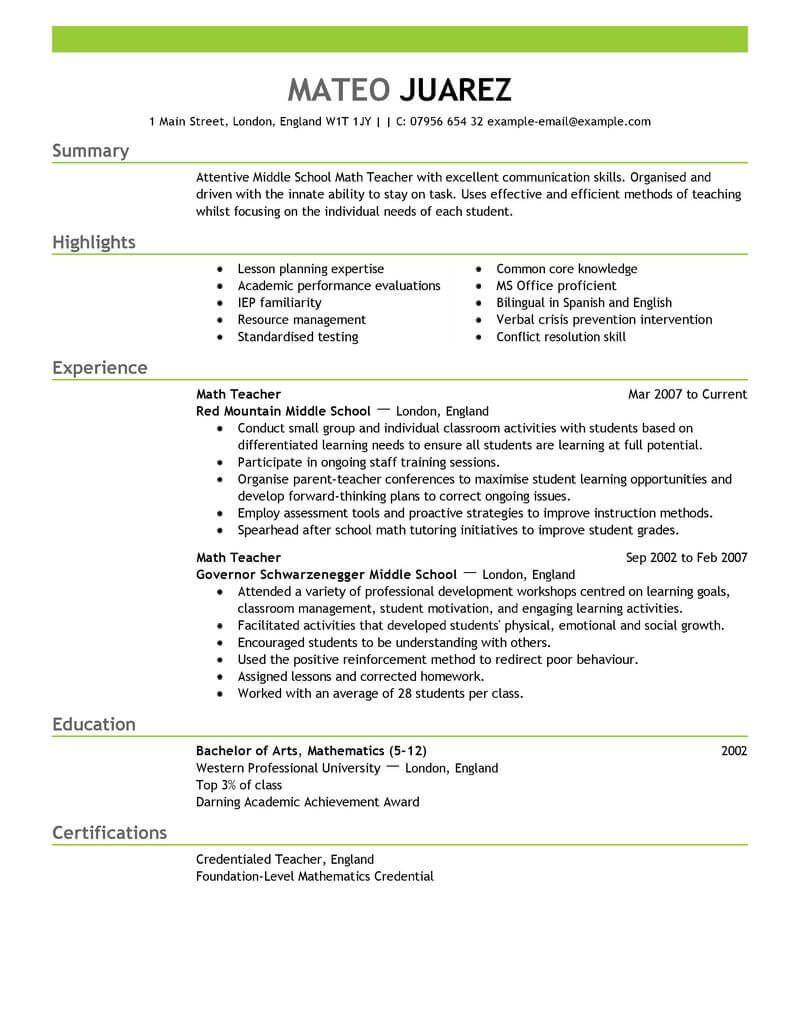 Best Teacher Resume Example | LiveCareer | Resume Templates ...