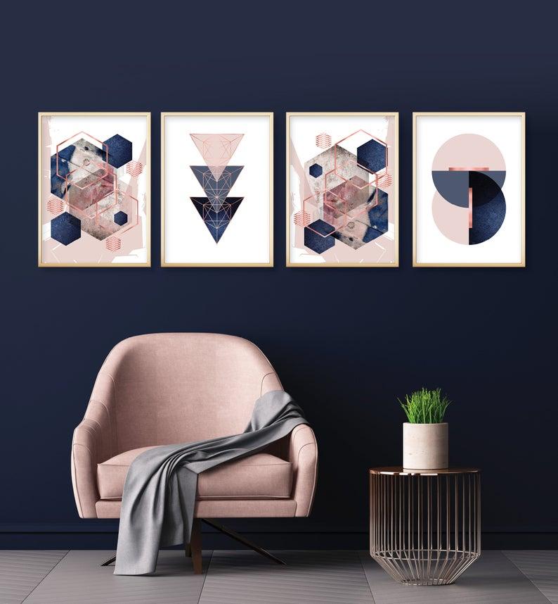Set Of 4 Printable Blush Pink Navy Blue Rose Gold Geometric Art Prints Digital Download Dusky Pink Indigo Bedroom Wall Decor Trending Now Blue And Pink Bedroom Blue And Gold Bedroom