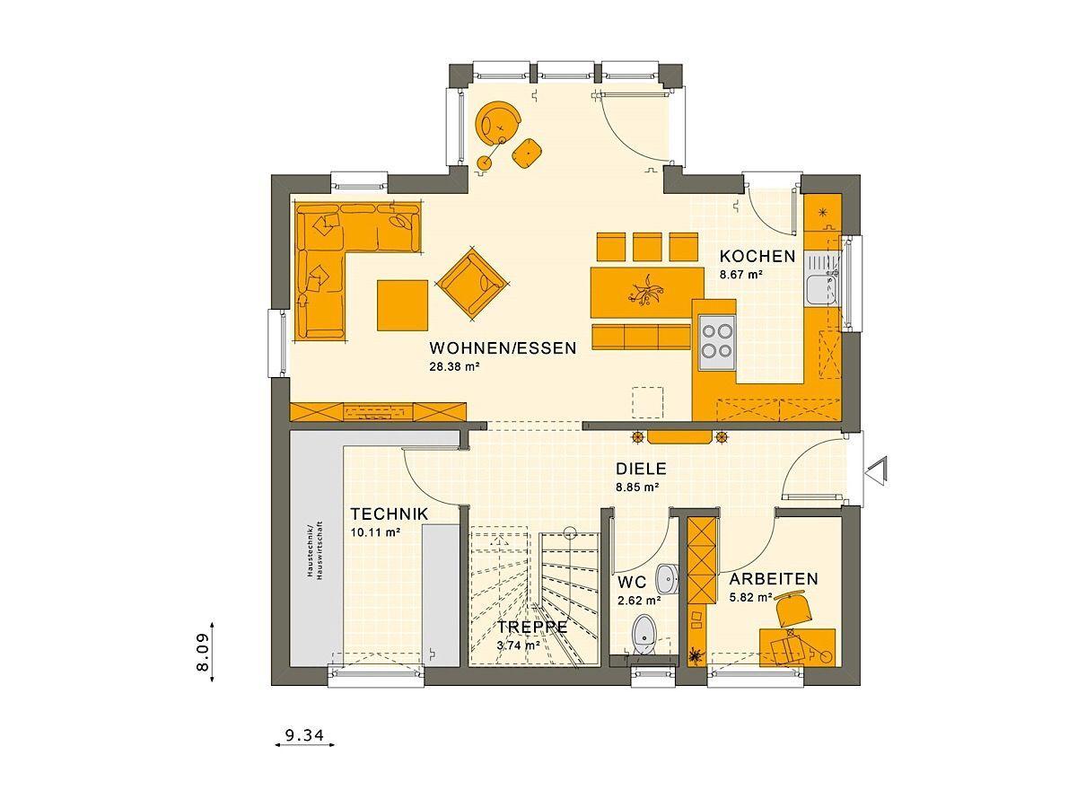Haus Grundriss Einfamilienhaus Erdgeschoss mit