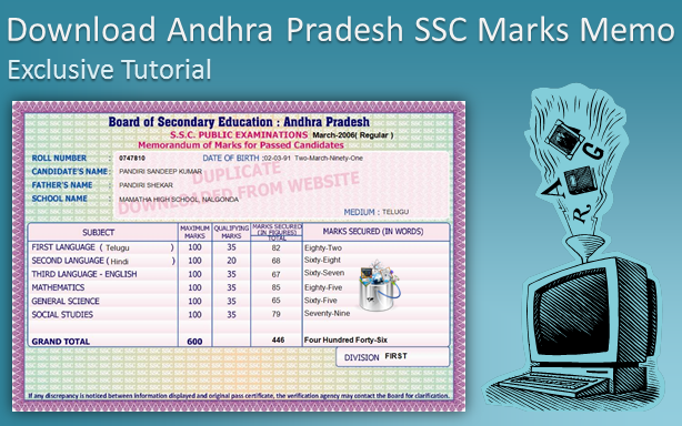 Board Of Secondary Education Andhra Pradesh Ssc Memo duplicate ap ssc marks memo Places to Visit Pinterest 4
