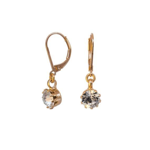 Gold Crystal Earrings – Bridesmaid Earrings – Minimal Earrings – Gold Filled Earrings – Bridesmaid Jewelry – Classic Earrings – Minimalist