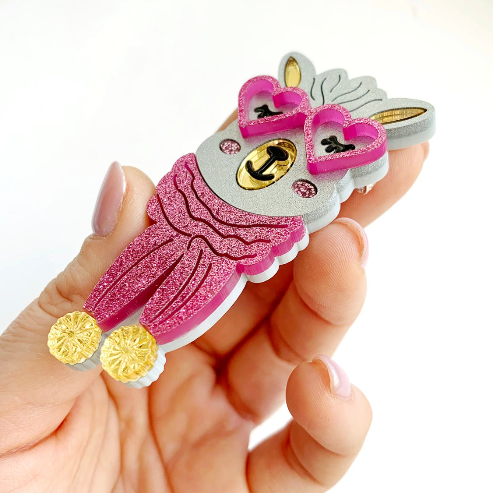 Photo of Pink fuchsia Llama alpaca brooch pin Knitted scarf Acrylic brooch Animal badge pin Mothers day gift Gift for mom