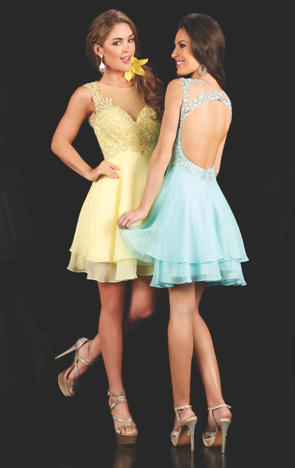 2016 New Homecoming Dresses Short Prom Party Graduation Gowns With A Line Sheer Neck  Backless Beads Yellow Mint Sweet 16 Beads