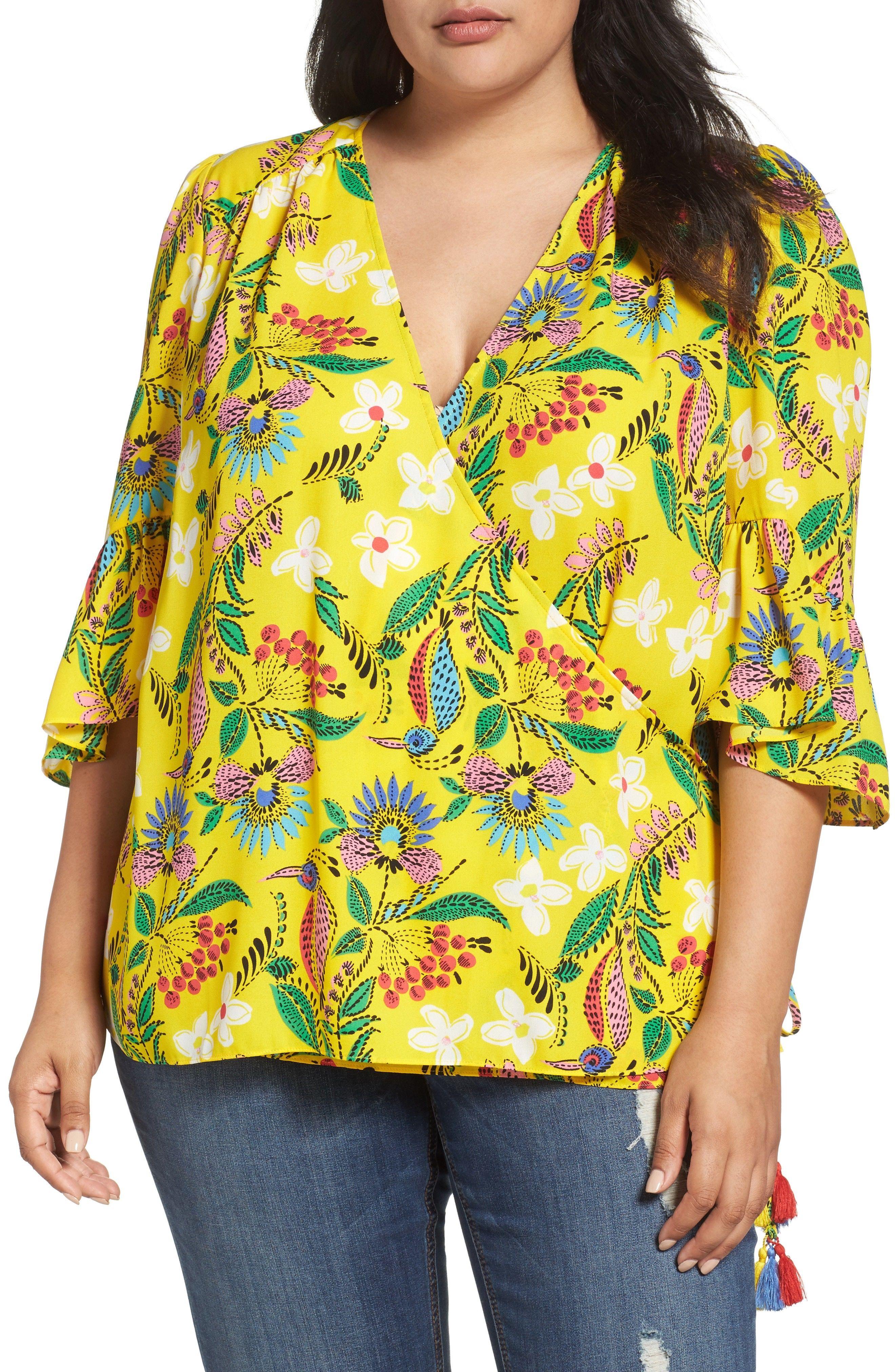 d6ccdcf06d073 Melissa McCarthy Seven7 Bell Sleeve Wrap Blouse (Plus Size ...