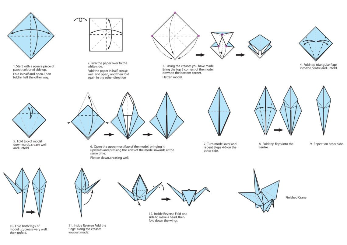How To Make An Origami Crane Step By Instructions Easy Pdf Flapping Wings 1140x806