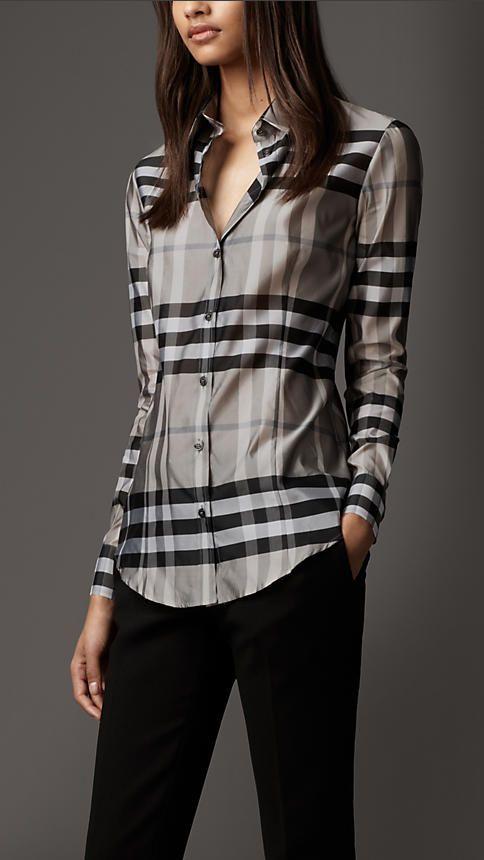 burberry plaid shirt womens
