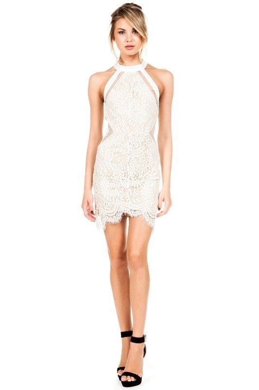 Elegant White Lace Halter Cocktail Dress