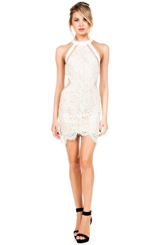 Elegant White Lace Halter Cocktail Dress