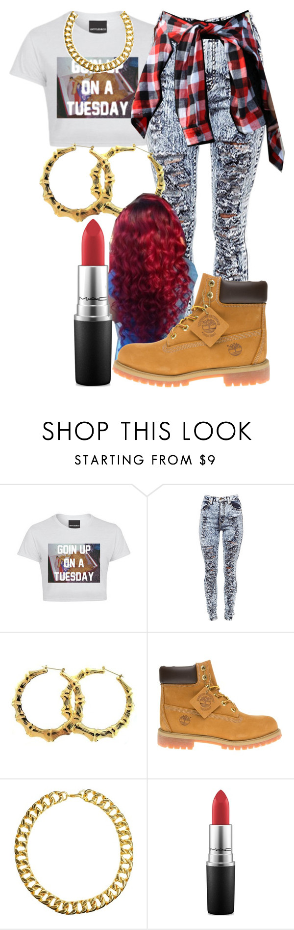 """Kehlani- The Way"" by femalekinggmimi ❤ liked on Polyvore featuring Untitled & Co, Timberland, Gogo Philip and MAC Cosmetics"