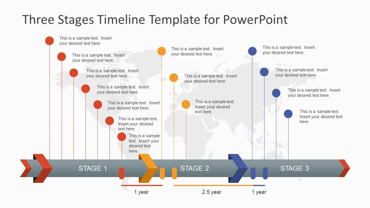 Three Stages Timeline Template For PowerPoint Wdqed