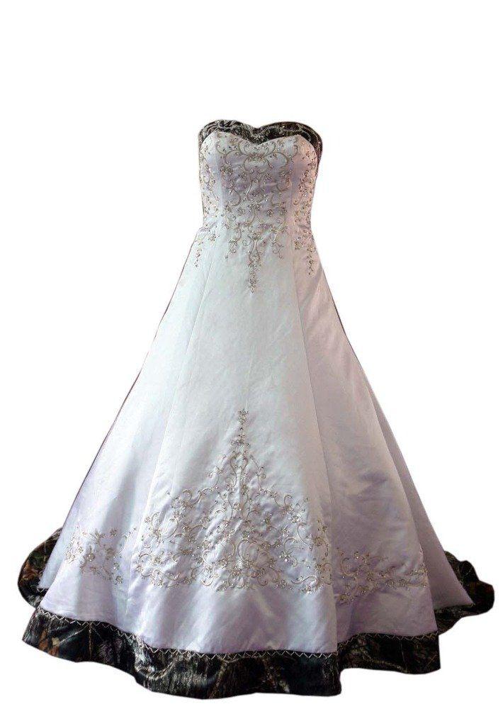 70498c66051 Mollybridal Satin A line Corset Embroideried Plus size Camo Wedding Dresses  White 20