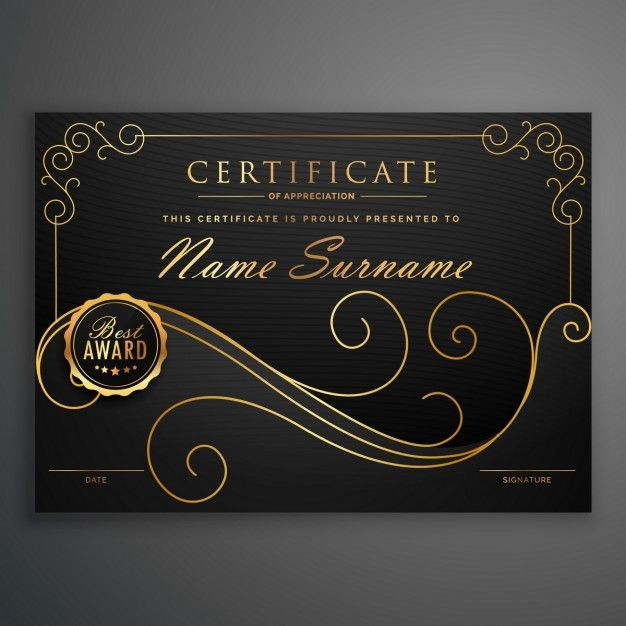 Elegant Marriage Certificate Template Golden Edition: Elegant Diploma With Floral Shapes Free Vector