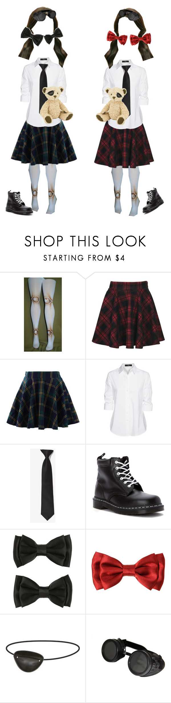 """Twins"" by victoriamarie3172001 ❤ liked on Polyvore featuring Boohoo, Chicwish, Steffen Schraut, Dr. Martens and Jellycat"