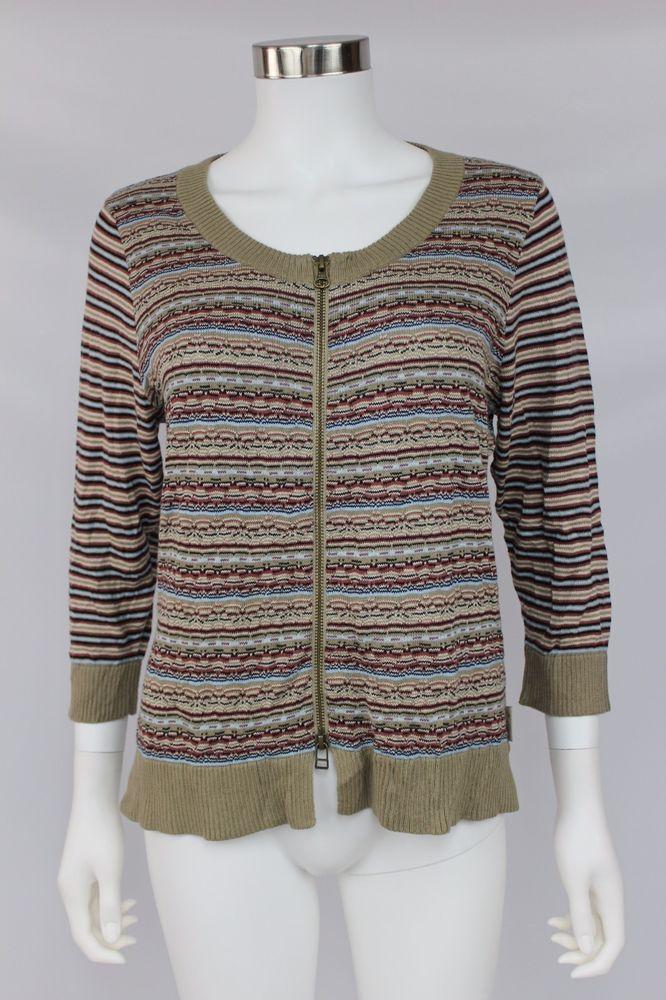 NWT Woolrich Womens Size Medium Multicolor Full Zip Bergen Peak Cardigan Sweater #Woolrich #FullZip