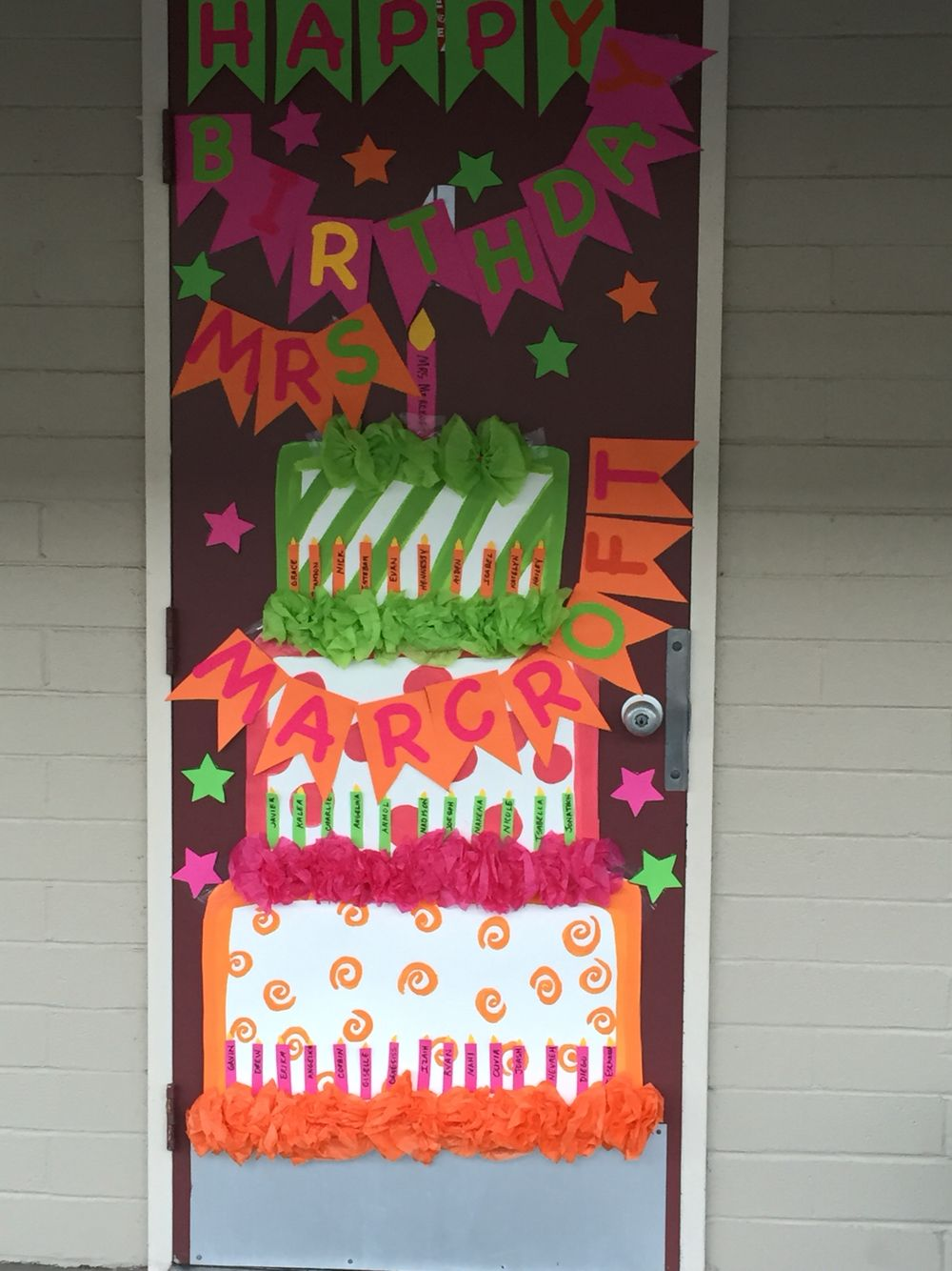 Happy Birthday Teacher Door Decor