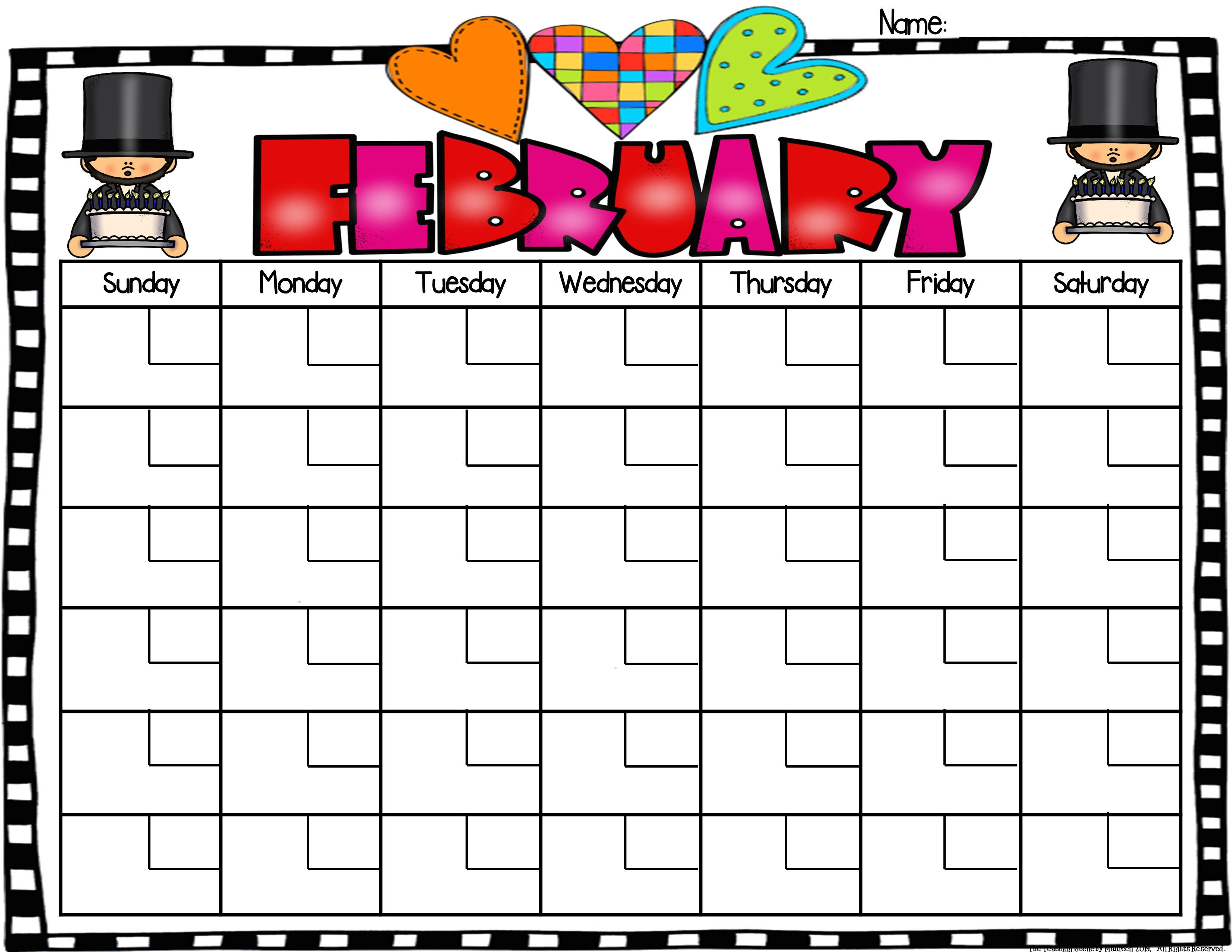 First Grade Daily Calendar Amp Math Review Booklet February