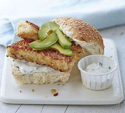 Crispy sesame fish burger with lime mayo
