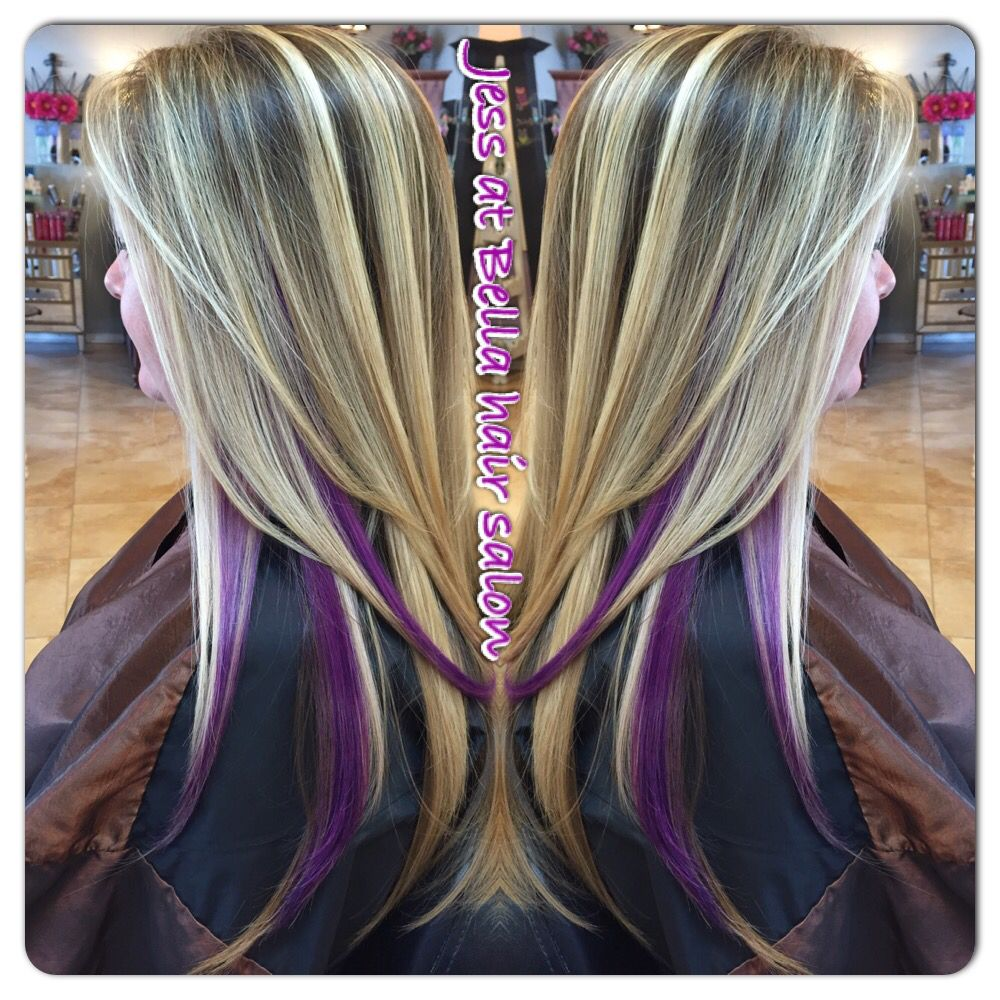 Blonde Hair With Purple Peekaboo Highlights Www Pixshark