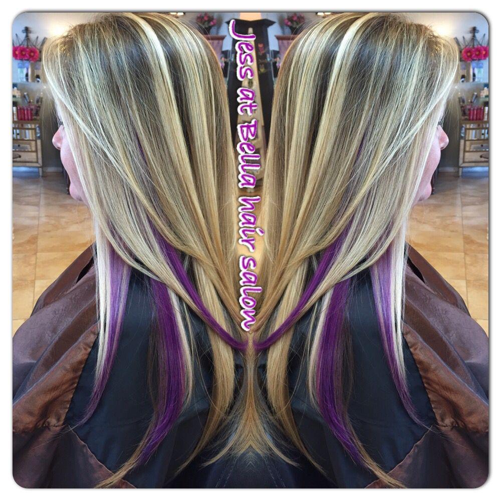 Blonde With Purple Peekaboos Hair Styles Underlights Hair Peekaboo Hair