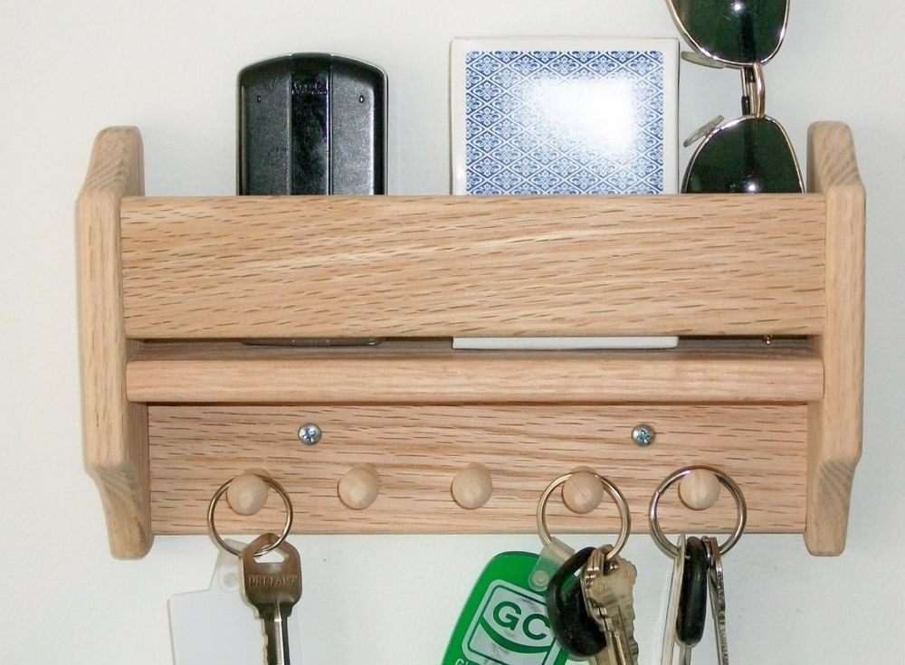 Unfinished Shelf Wood Handmade Oak Key Holder Pegs Wall Hanging Storage Organize 18 00 Plus 5 45 Priority Mail Due To Wtg And Size