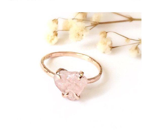 Rose Quartz Engagement Ring Rose Quartz Ring 14Karat Solid Gold
