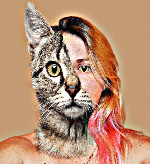 Half animal, half human self portrait