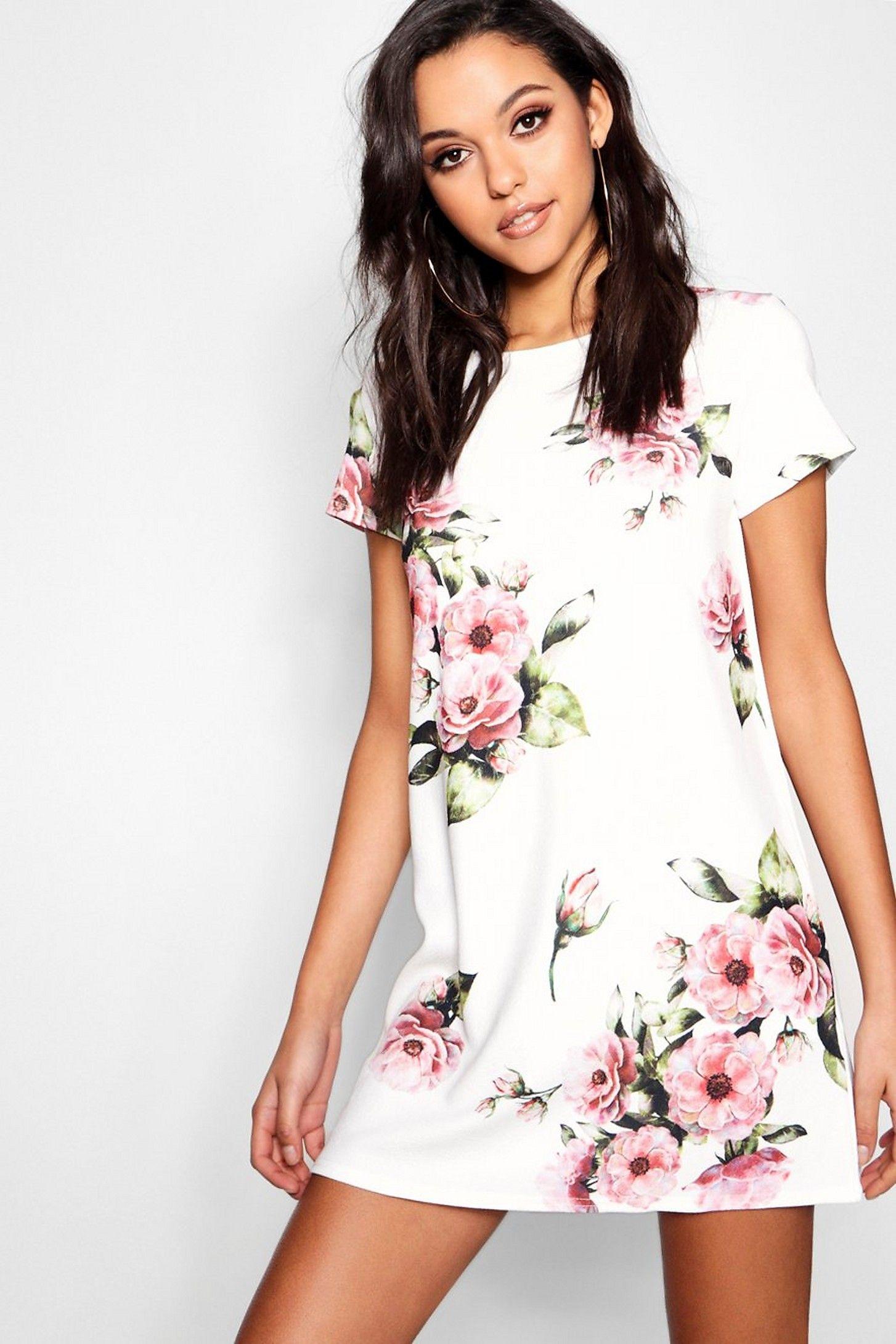 Floral Cap Sleeve Shift Dress Boohoo Cap Sleeve Shift Dress Shift Dress Womens Dresses [ 2181 x 1454 Pixel ]