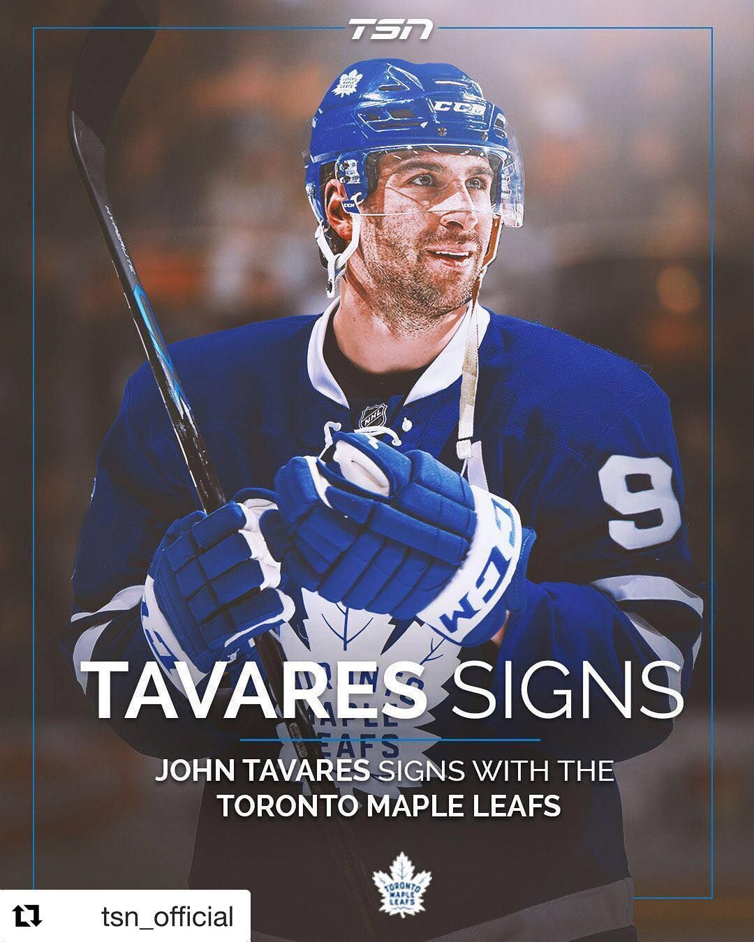 new products eb4ef 89b51 It's official John Tavares is coming home!! He's a Maple ...