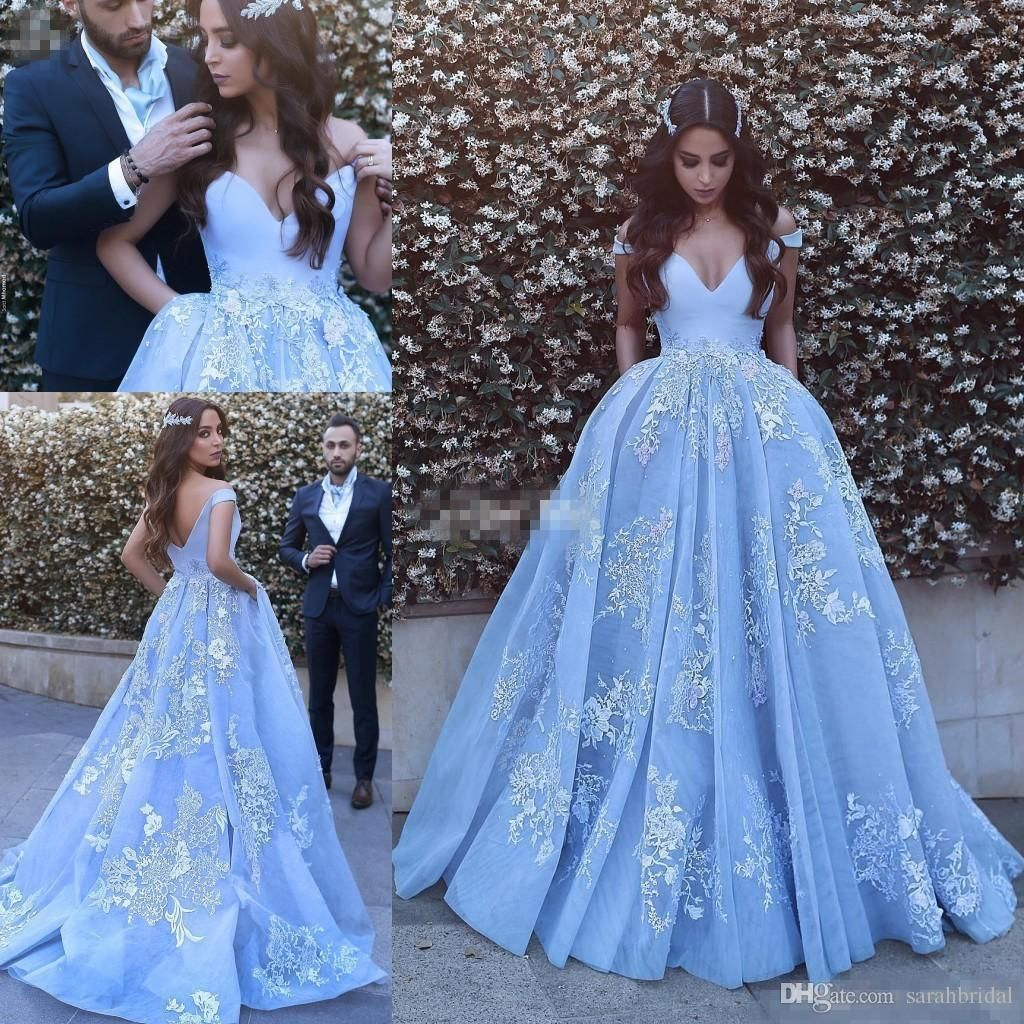 New design sky blue long prom dresses open back capped with