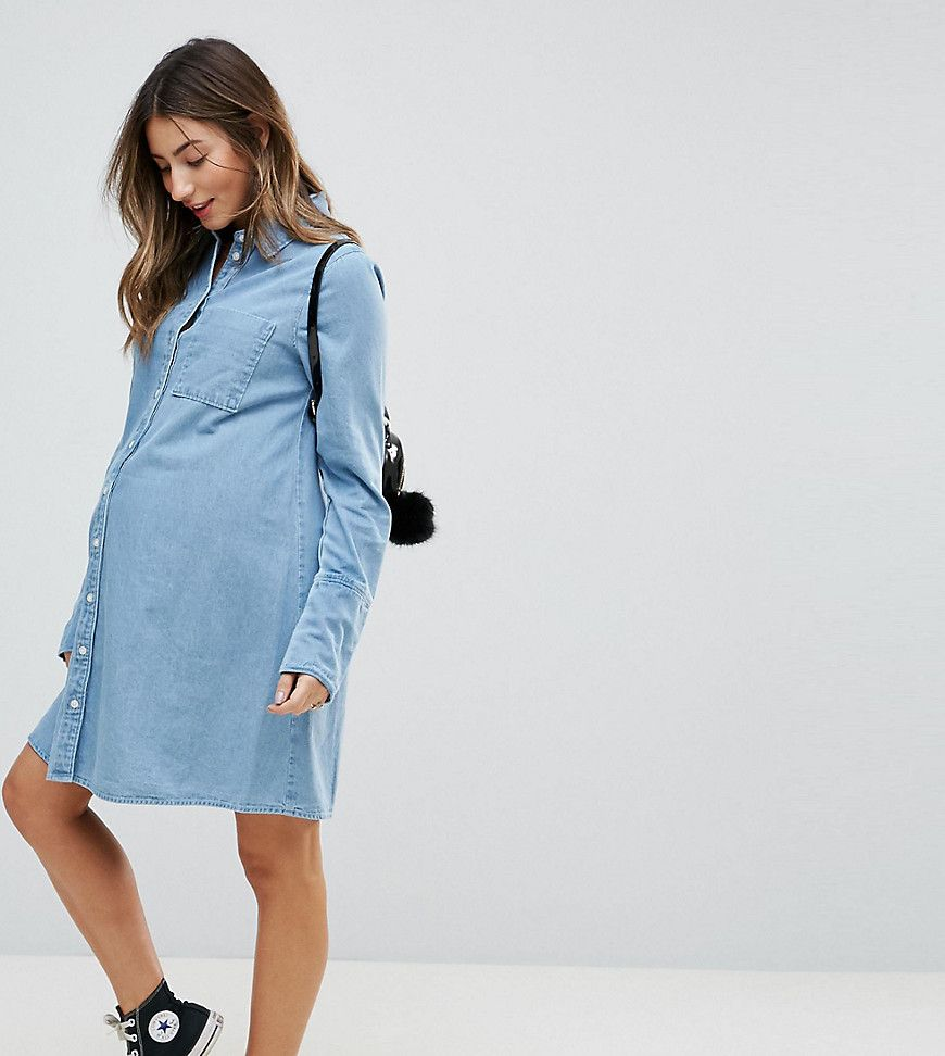 Asos maternity denim shirt dress with deep cuff detail blue asos maternity denim shirt dress with deep cuff detail blue ombrellifo Image collections