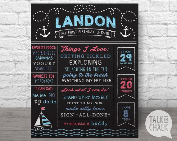 Nautical First Birthday Digital Chalkboard Sign, First Birthday ...