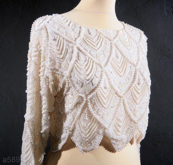 Vintage Beaded Tops Vintage Silk Ivory White Beaded Wedding Bolero Top Bridal Tops Beaded Crop Top Vintage Silk