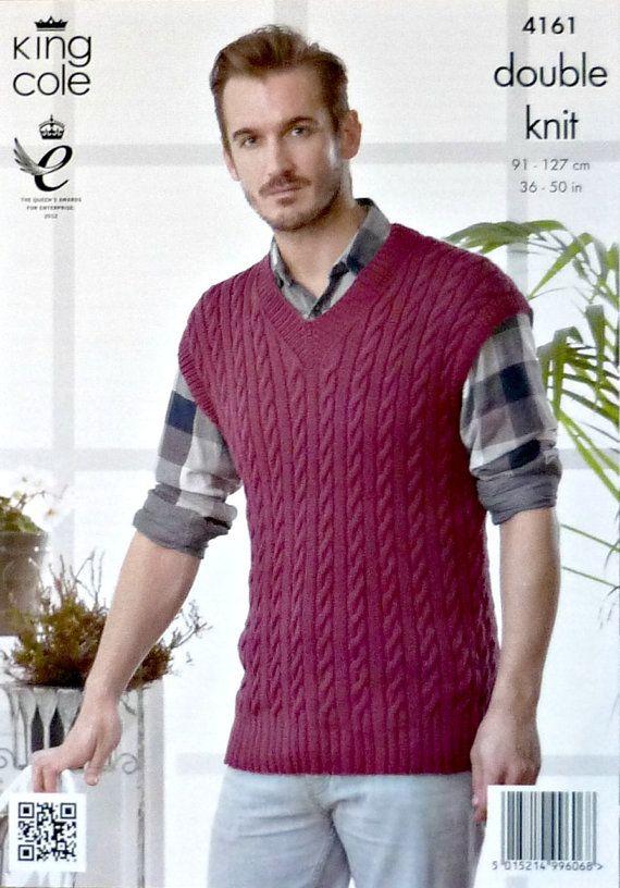 Mens Knitting Pattern K4161 Mens Sleeveless By Knittingpatterns4u