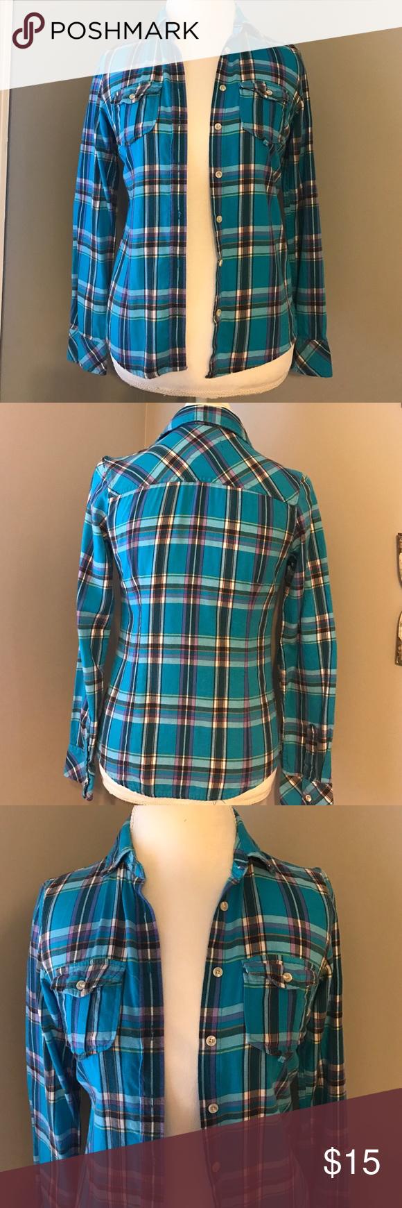 Flannel shirt xs  SuperCute Plaid Flannel Shirt Size XS Excellent Condition plaid