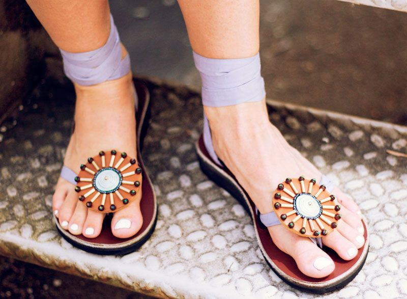 Round Soleil Accessory with hand stitched beads brightens your sandals!!
