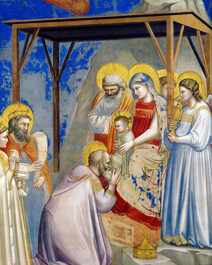 Giotto - Adorazione dei Magi In Occidente la raffigurazione dei Magi nimbati inizia con il famoso affresco di Giotto nella Cappella degli Scrovegni a Padova10. Su di esso si scorge una grande novità: