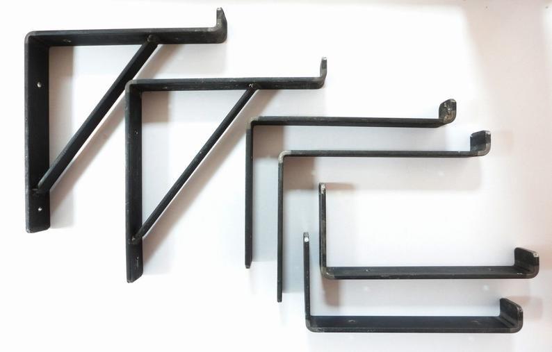 Rustic Scaffold Board Shelf Brackets Heavy Duty Handmade Industrial Steel Metal