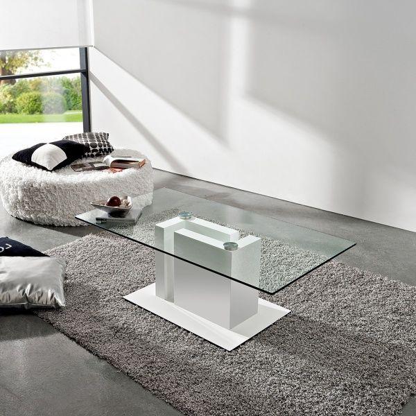 table basse moderne en verre et mélaminé - tania | tables
