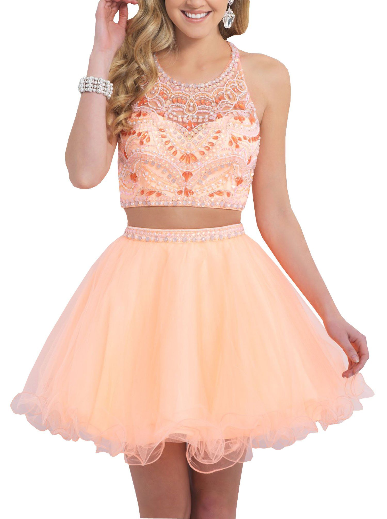 Dressonline two piece rhinestone flowing chiffon short prom dress