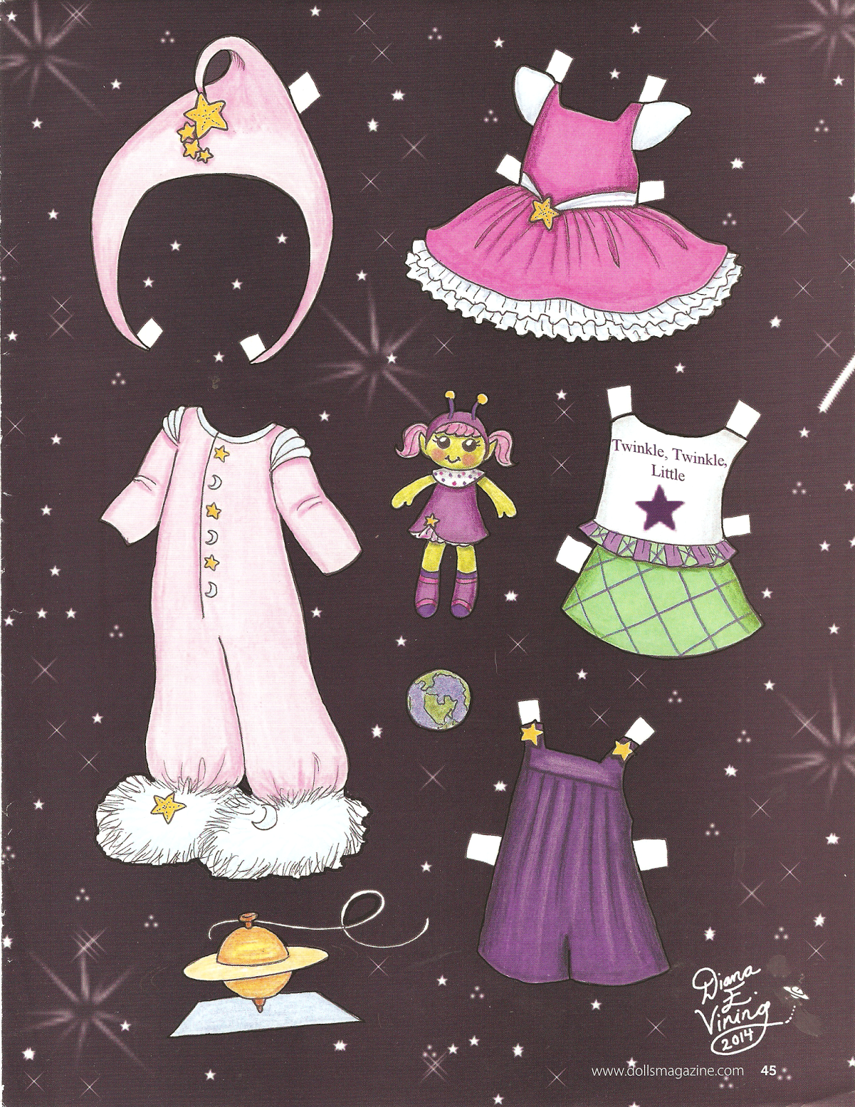 STARDUST Paper Doll from Dolls Magazine, April 2014, by Diana E Vining  2 of 2