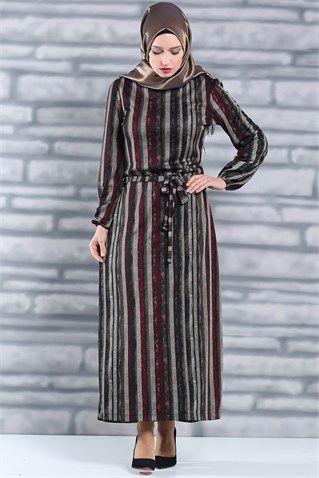 Cizgili Elbise Bordo Elbise Modelleri Elbise Cizgili Elbise
