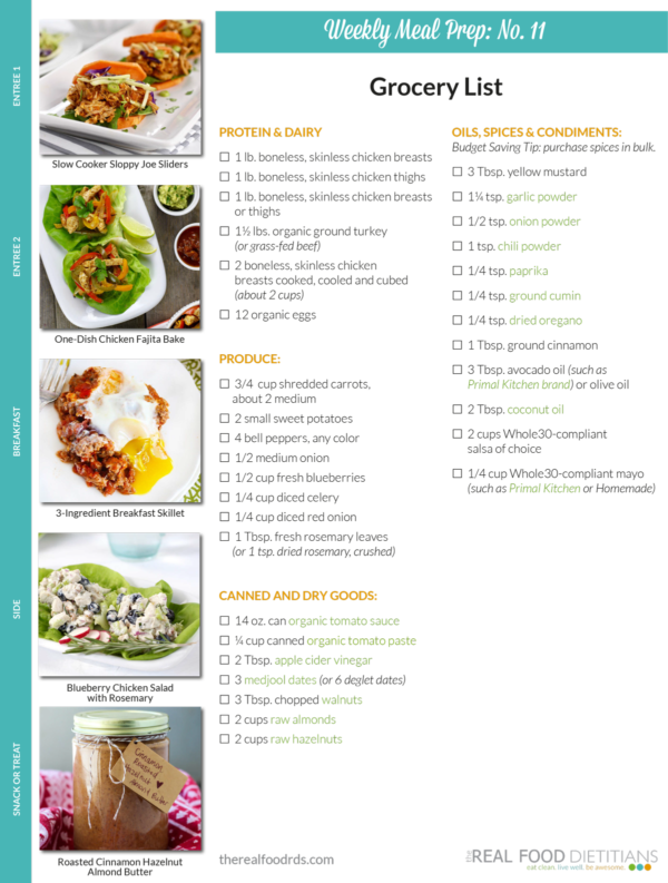 Weekly Meal Prep Menu No   Dietitian The OJays And Weekly