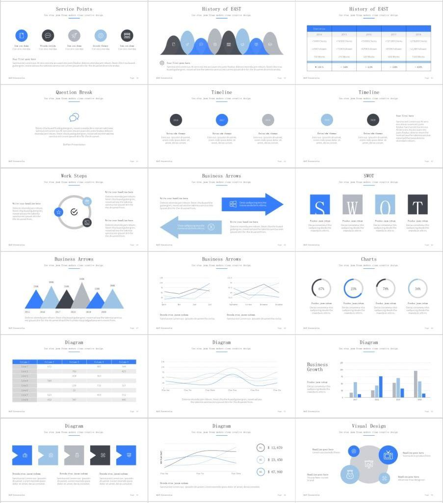 99+ Best Blue Creative Business charts PowerPoint template