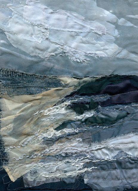 Giclee Textile Art Print 'Encroaching Sea' by LauraEdgarTextiles