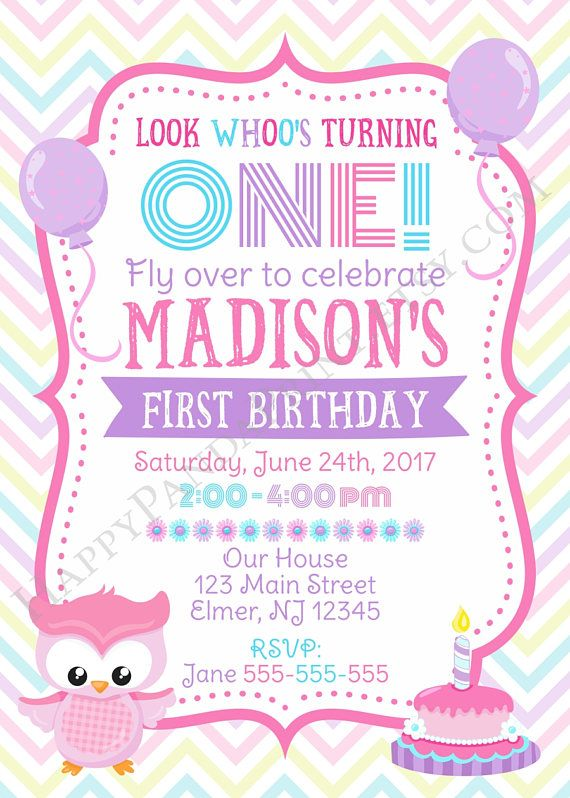 Owl Birthday Invitation Girl First Birthday Invitation Owl