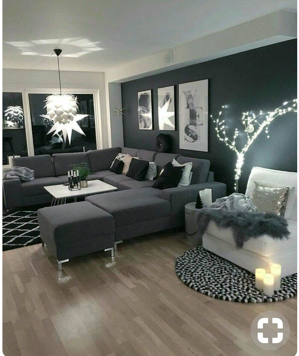 Pin by Anisa Maria on dream house | Dark grey living room ...